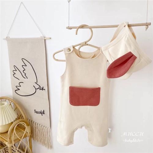 送料無料!【予約販売】可愛いお耳つき帽子 & ビッグポケット サロペット 66cm〜90cm 男の子 女の子 兄弟 姉妹 双子 出産祝い