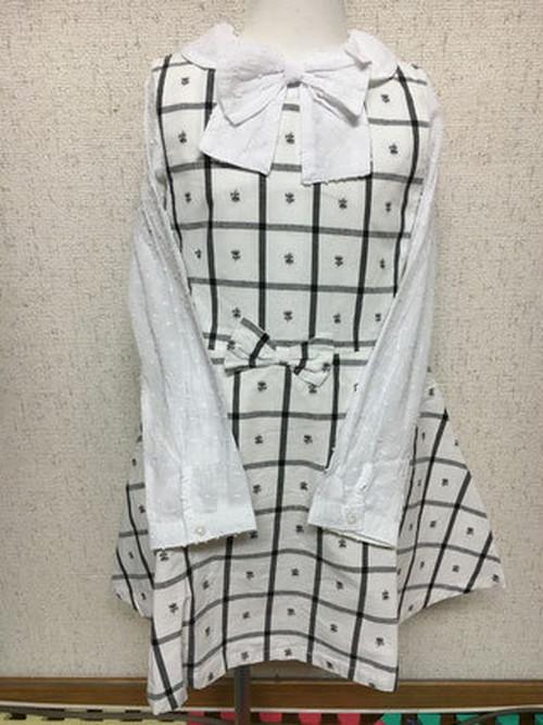 先染めチェック花JQジャンパースカート(S117046)