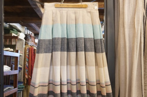 80's pastel colored multi stripe flared Skirt