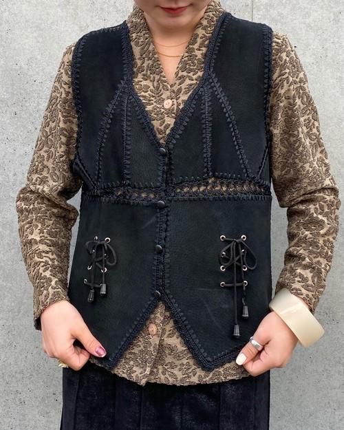 (PAL) suède patchwork vest
