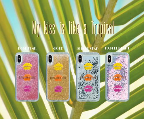 My kiss is like a Tropical    iPhoneX/8/7/6/6s グリッターケース キスマーク 可愛い おしゃれ