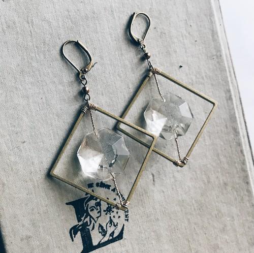 Chandelier earrings -square- [gold]