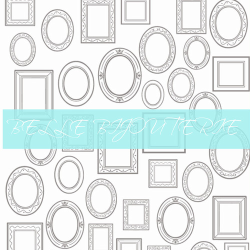【ガラス用転写紙】ピクチャーフレームラウンド ホワイト A4