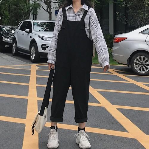 【ボトムス】無地コットンカジュアル秋レギュラー丈サロペット23179335
