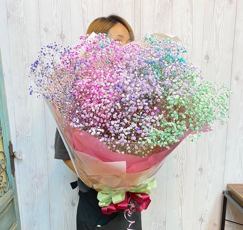 B0603) カラフルかすみ草の花束