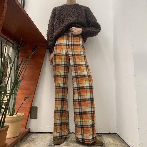 1970s check pattern wide flare pants 【M位】