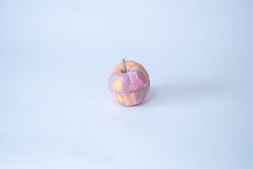 張り子りんご(ピンク・大・しましま)