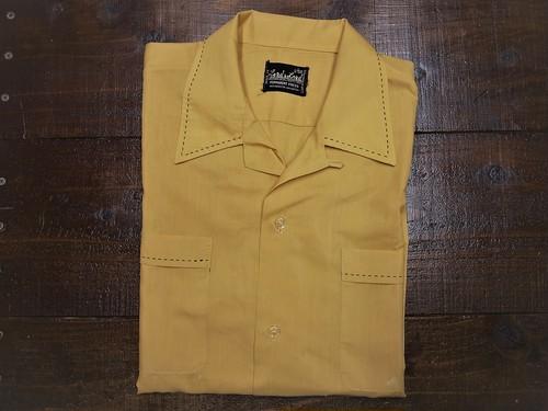 50's Load & Lord L/S レーヨンシャツ(オープンカラー,飾りステッチ,カラシイエロー,襟芯入り) ビッグサイズ