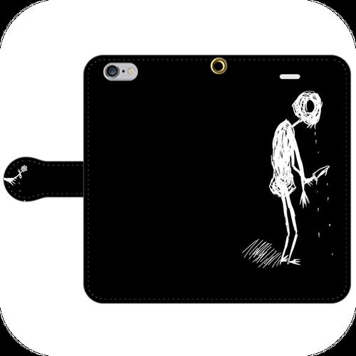 #024-001 病み系 iPhone8対応 オリジナルデザイン《棒人間さん》 手帳型iPhoneケース ・ 手帳型スマホケース 全機種対応 作:秋夜 Xperia ARROWS AQUOS Galaxy HUAWEI Zenfone