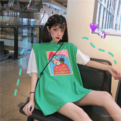 【トップス】カートゥーン春夏キュートプリント韓国風カジュアルノースリーブ/半袖Tシャツ