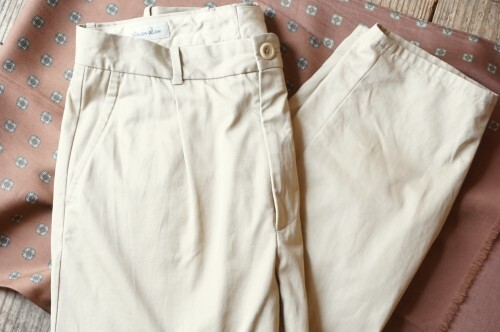 Steven Alan beige one-tuck cropped Pants