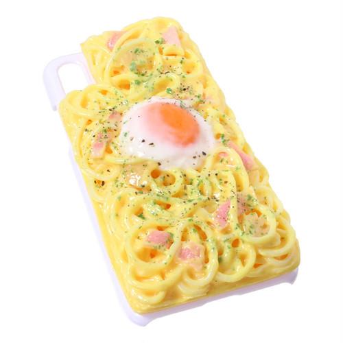[8105]食品サンプル屋さんのスマホケース(iPhoneX:カルボナーラ[ホワイト])【メール便不可】