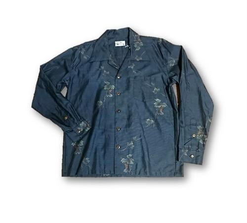 4 大島紬リメイク メンズ長袖シャツ(ブルー系花柄・M)