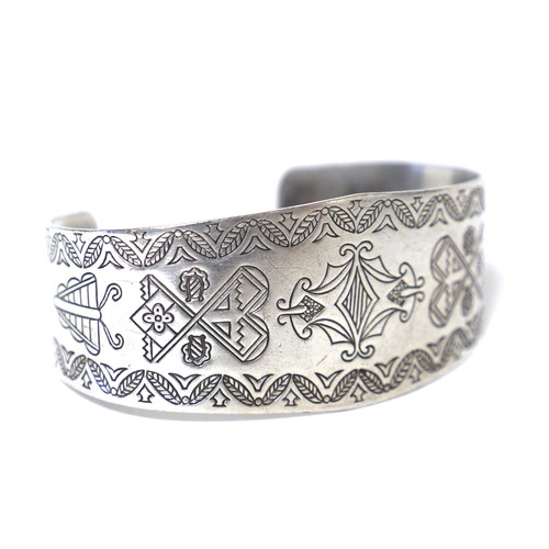 Navajo Vintage Sterling Silver Plant & Bug Bangle
