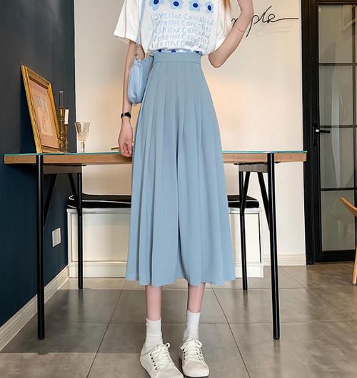 プリーツスカート ロング 春 韓国 ファッション レディース ハイウエスト フレア Aライン 大人可愛い フェミニン レトロ シンプル