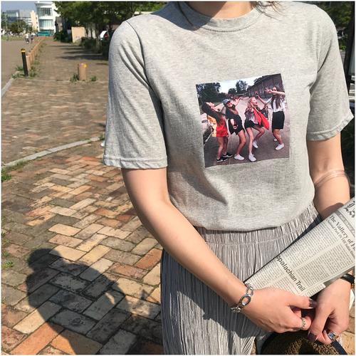 girls print T-shirt #gray