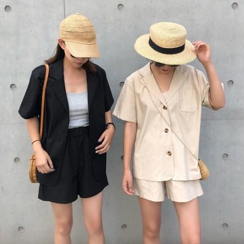 【セットアップ】綿亜麻セットアップ(シャツ+ショートパンツ )