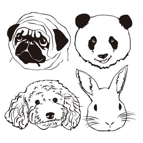 Character touch illustration/Portraits of Dogs, Cats and Pets