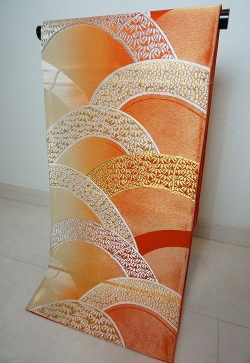 袋帯 正絹  金銀糸 オレンジ 桜 リユース 028