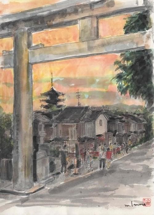 「水彩画ミニアート」京都 夕焼けの日