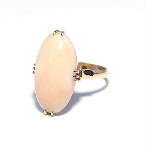 Vintage Japanese Ring - K18 Coral #11.5