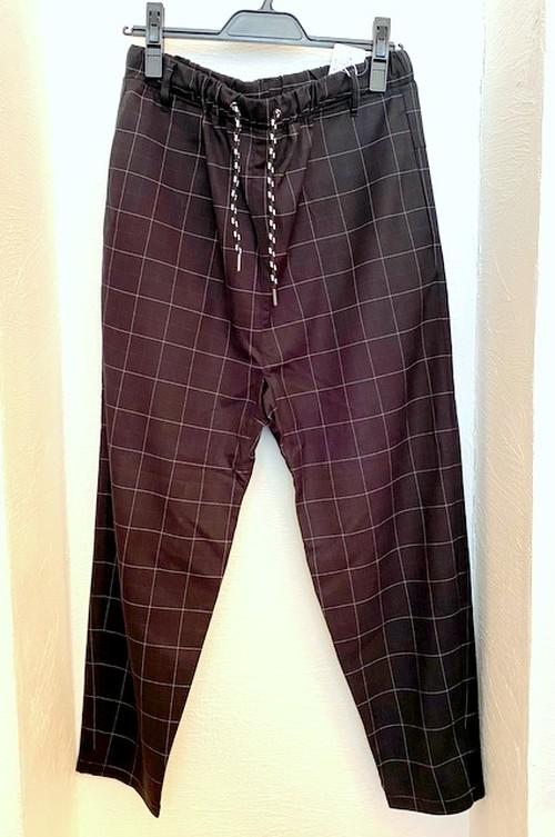 Window Pane Pattern Tapered & Easy Design Pants Black