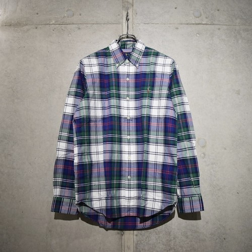 POLO RALPH LAUREN CLASSIC FIT CHECK SHIRT / GREEN x WHITE