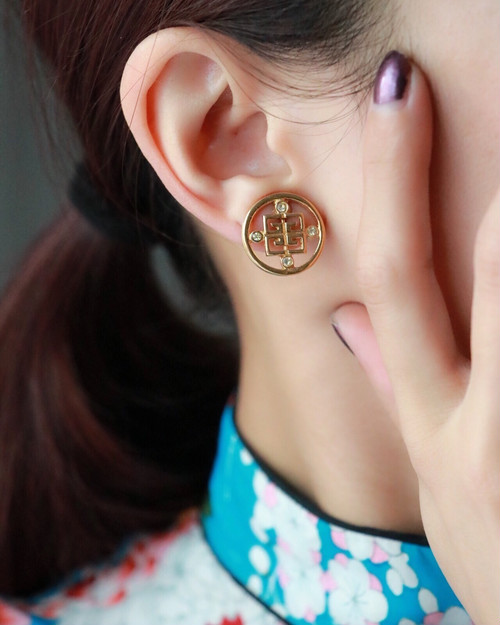 GIVENCHY round golden earrings