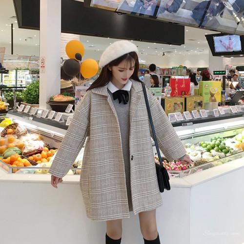 【セットアップ】ファッションリボンボウタイPOLOネックワンピース+ラシャコート二点セット