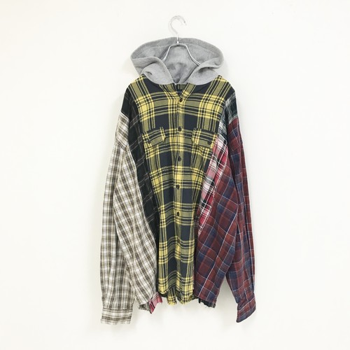 REMAKE HOOD CHECK SHIRT(YELLOW)