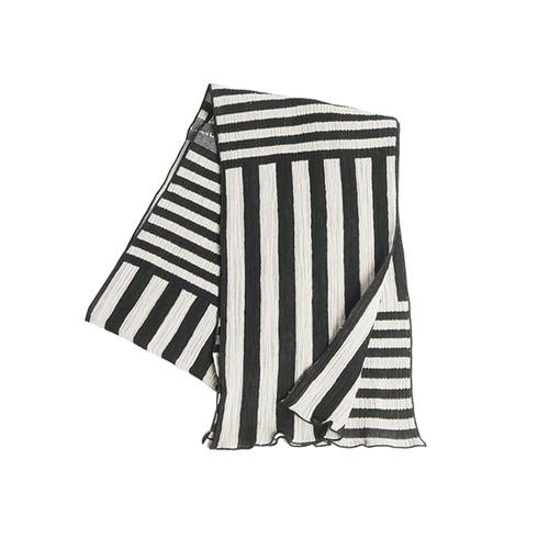 kibiso ストール「しましま」(半巾) 黒