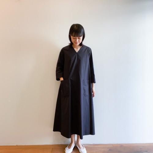 C-71101 Cotton/Tencel V Neck Dress