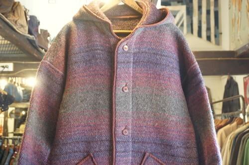 70's reversible blanket hooded Coat