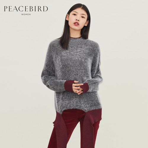 Peace Bird Women's Winter New Fashion Stitching Casual Loose Knit Sweater Women Round Neck Pullover Women PCB5096688
