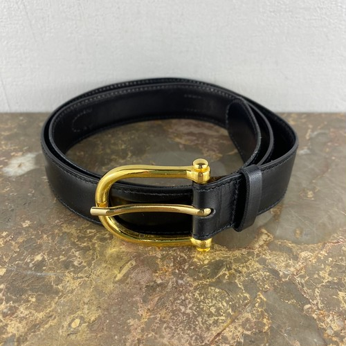 .CELINE CARRIAGE LOGO LEATHER BELT 75 MADE IN ITALY/セリーヌ馬車ロゴレザーベルト 2000000042060