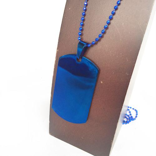 ドッグタグ ブルー 青 BLUE DOG TAG 自衛隊 アーミー DIY 彫刻 サバゲー サバイバル ボールチェーン ネックレス 1781