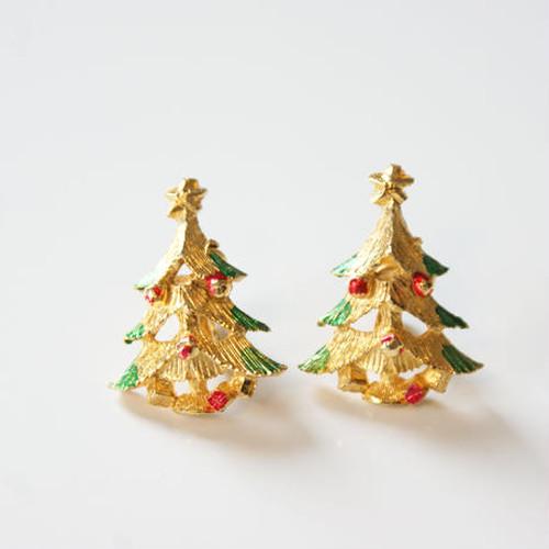ヴィンテージ イヤリング クリスマスツリー エナメル  / コスチュームジュエリー・アクセサリー