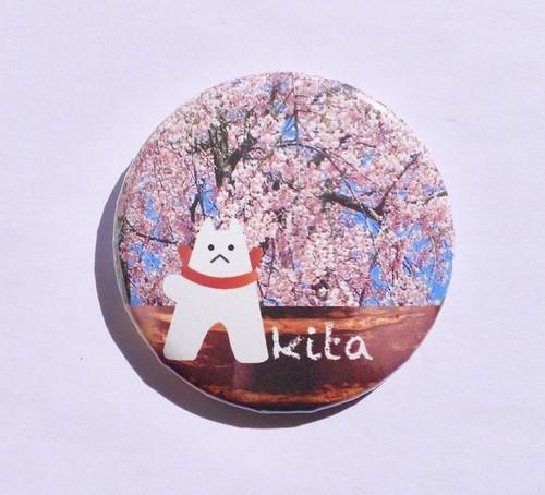 犬っこ缶マグネット(角館樺細工と桜)