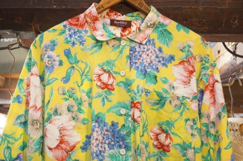 70's yellow botanical cotton Shirt