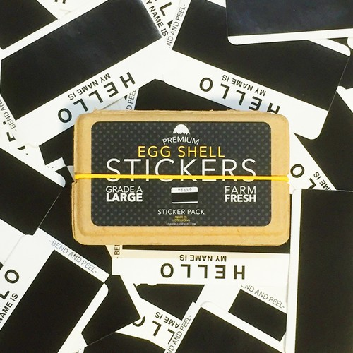 EGGSHELL STICKERS HELLO MY NAME IS WHITE & BLACK BLANKS 80pcs