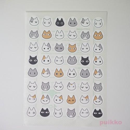 猫イラスト1 丸シール・小