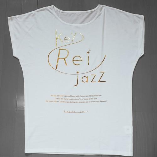 key Rei jazz T-shirts 半袖(ゆるT) 白×ゴールド箔