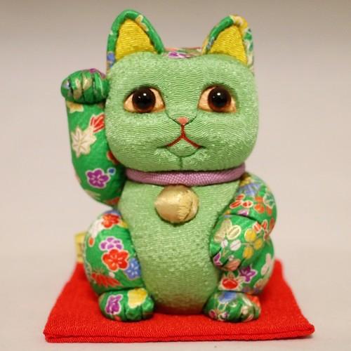 まねき猫(中) 友禅シリーズ(緑)