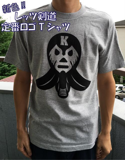 残りわずか【レッツ剣道マスクロゴTシャツ・グレー】