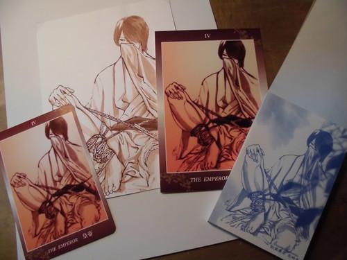 直筆絵シート 緊縛 男 アクリルガッシュ(茶)/紙