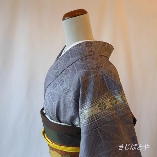 大島紬 薄鼠色に麻の葉の小紋 袷