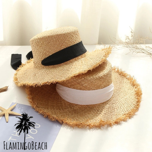 【FlamingoBeach】flat ribbon rafia hat ラフィアハット