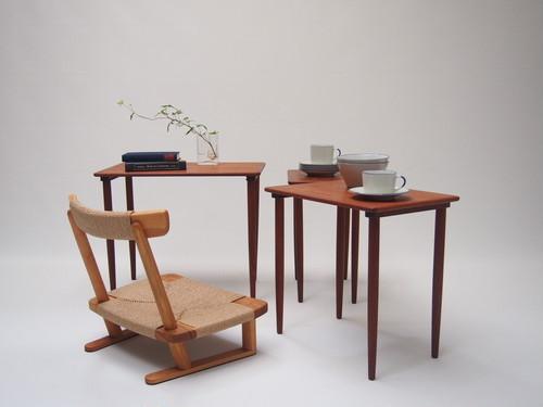 【セット販売】ヴィンテージ ネストテーブル + 楽座椅子
