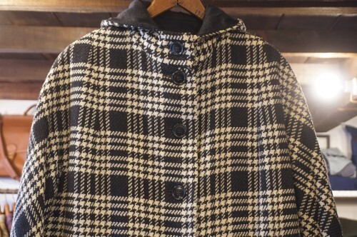 50's plaid tweed reversible hooded Coat