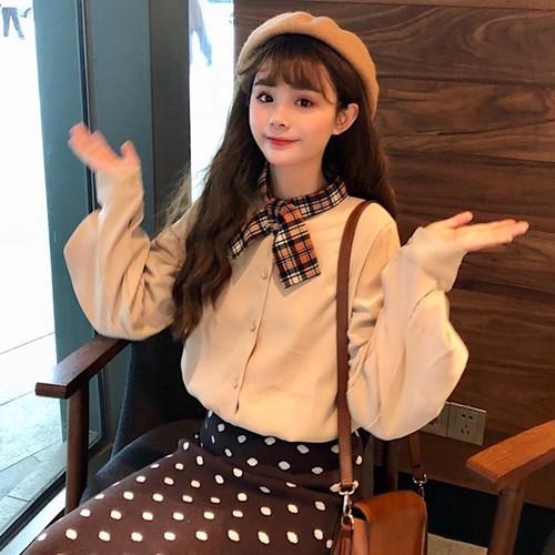 【トップス】リボン付きファッション配色シャツ